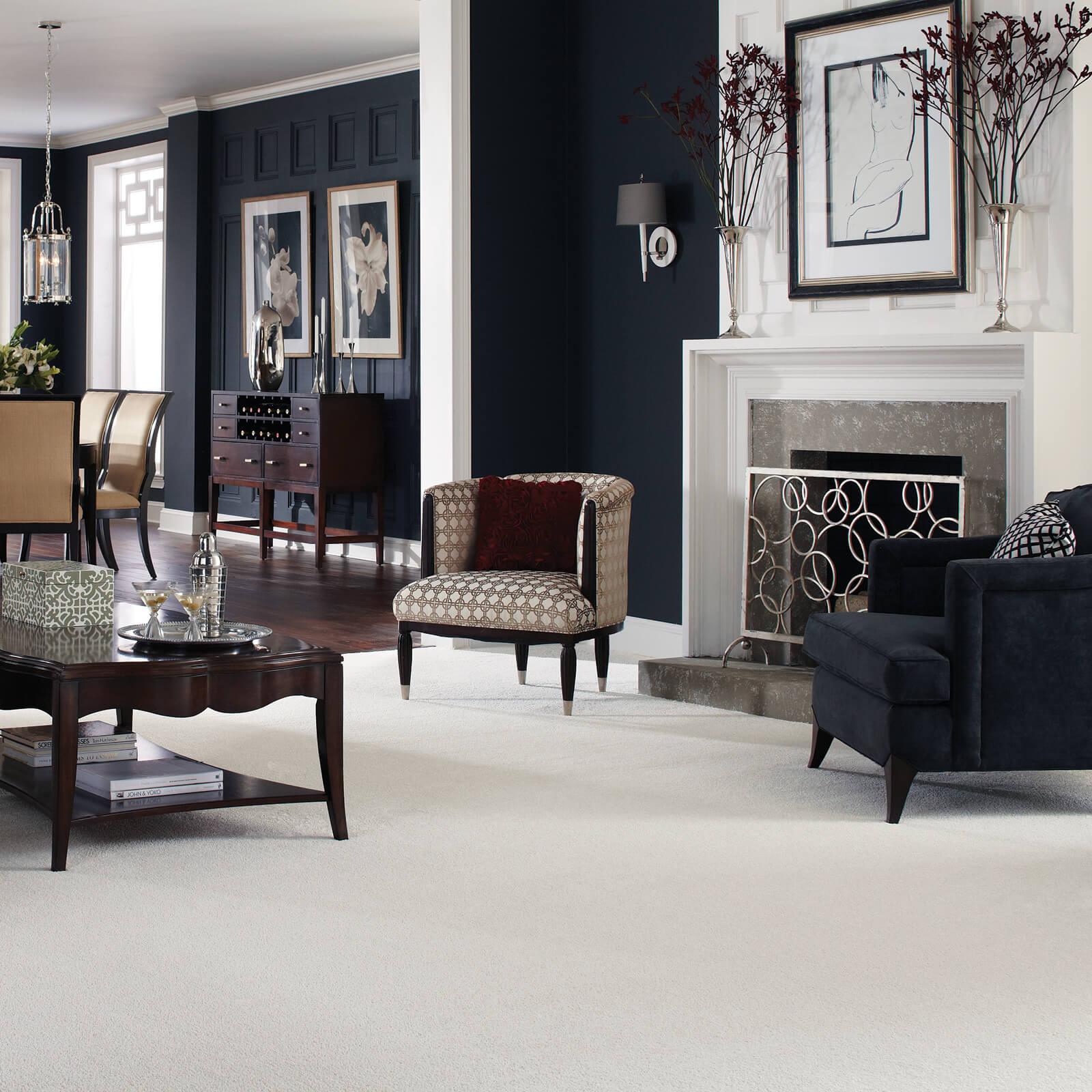 White Carpet in Living room | Flooring by Wilson's Carpet Plus