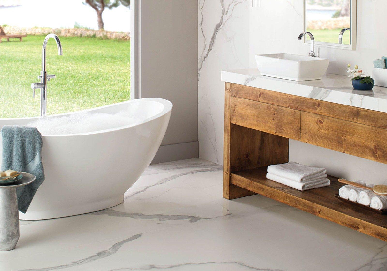 daltile tile in bathroom | Flooring by Wilson's Carpet Plus