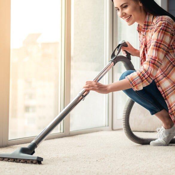 woman clean carpet